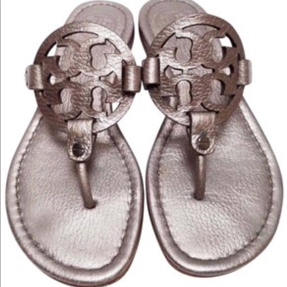 3ceaccdf76a88f ... official tory burch pewter metallic miller sandal 542ed f3314